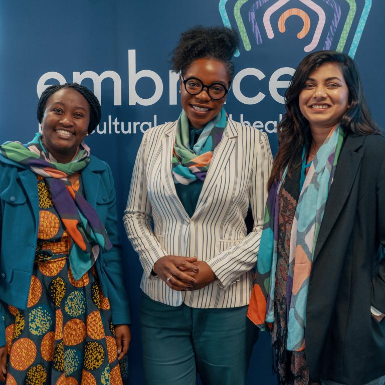 Members of the launch panel including Chiedza Malunga (Monash Refugee Clinic), Tandi Kuwana (CALD Mental Health Consumer & Carer Group) and Niharika Hiremath (National Mental Health Commission)