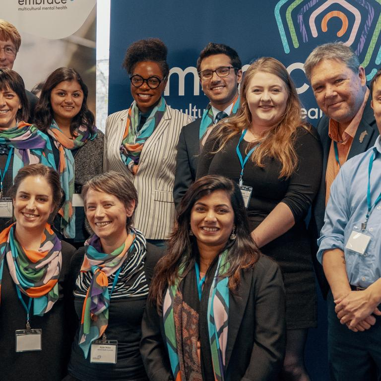 Members of the Embrace Project Alliance, including staff from Mental Health Australia, the Federation of Ethnic Communities' Councils of Australia (FECCA) and the National Ethnic Disability Alliance (NEDA)